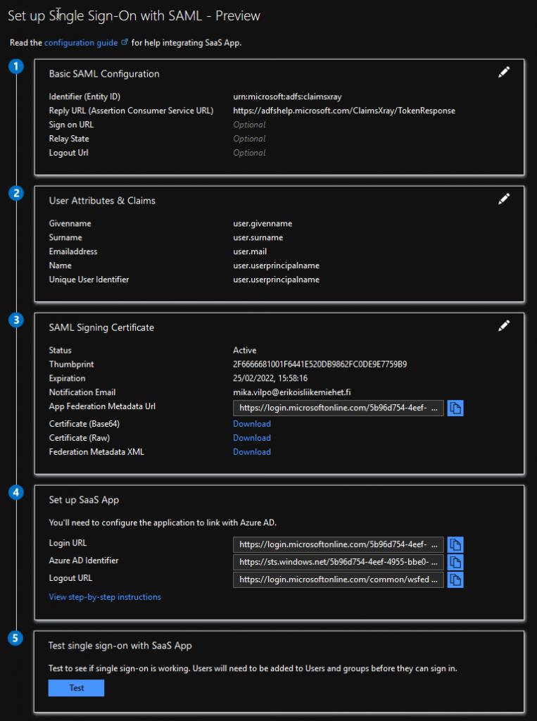Basic SAML settings in Azure AD federation