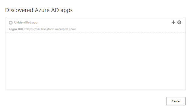 A list of discovered unrecognized Azure AD Applications