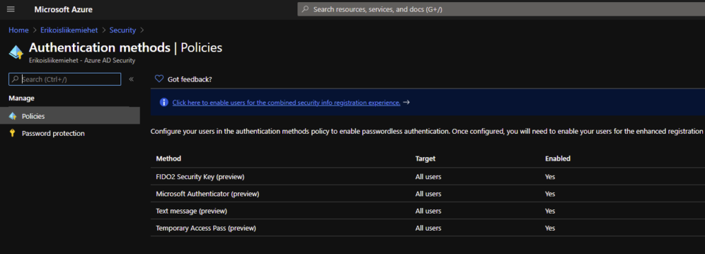 Authentication methods in Azure AD