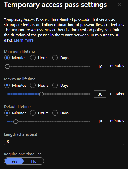 Settings of temporary access pass