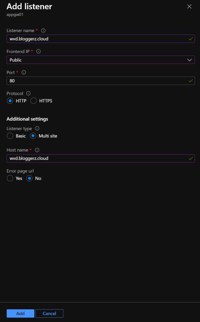Screenshot of application gateway listener for url redirections