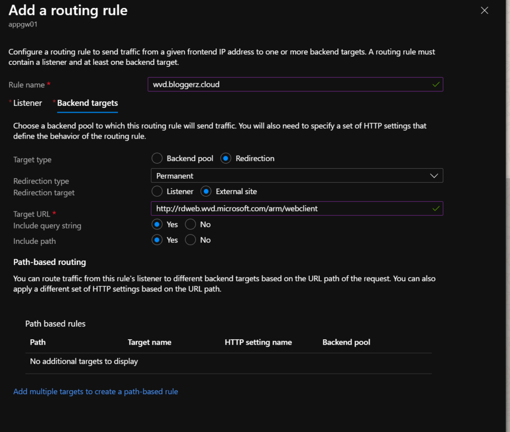 Screenshot of routing rule for url redirections