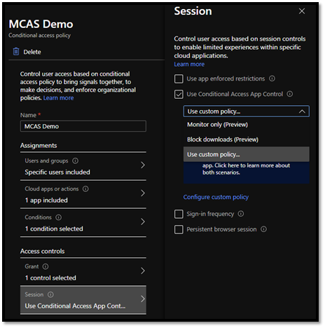 Conditional Access Session Control settings.